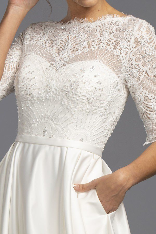 Lace Beaded Bodice Long Wedding Dress with Pockets Off White