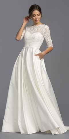 Poofy A-Line Silver Ball Gown Lace Bodice Satin Skirt