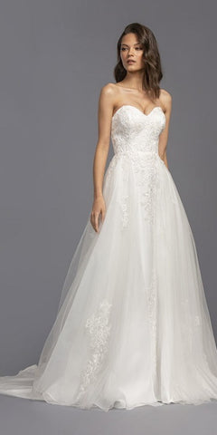 Sweetheart Neckline Strapless Long Wedding Dress Off White