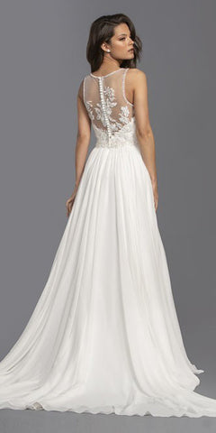 Off White Long Wedding Dress Illusion Button Back