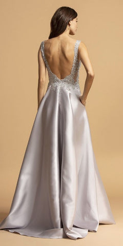 Silver Appliqued Bodice Long Prom Dress with Pockets