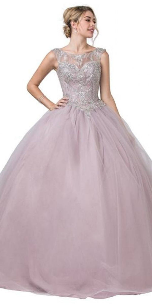 Cut-Out Lace-Up Back Mauve Long Quinceanera Dress