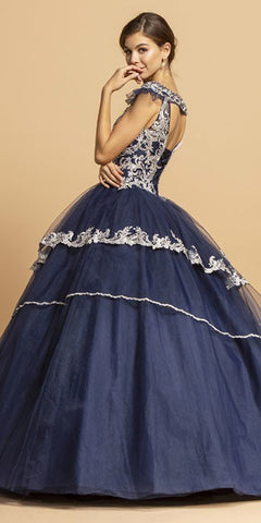 Navy Blue Long Quinceanera Dress Cut-Out Back with Appliques