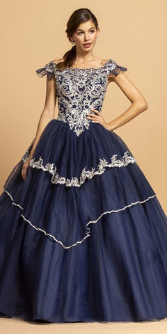 Plunging V-Neckline Long Glitter Prom Dress Navy Blue A-Line