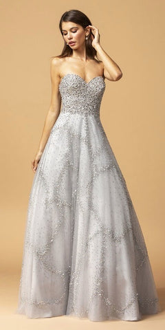 Rhinestone Embellished Strapless Long Prom Dress Silver