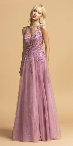 Embellished V-Neck Ruffled Cut-Out Back Mermaid Prom Dress Purple