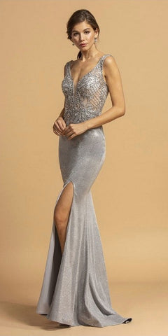 Off The Shoulder Long Mermaid Sheath Gown Aqua With Side Slit