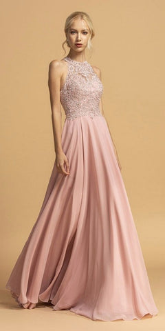 Halter High-Neck Appliqued Long Prom Dress Dusty Rose