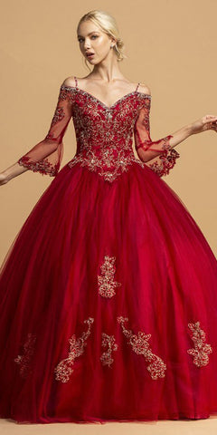 Burgundy Long Quinceanera Dress Cold-Shoulder Bell Sleeves