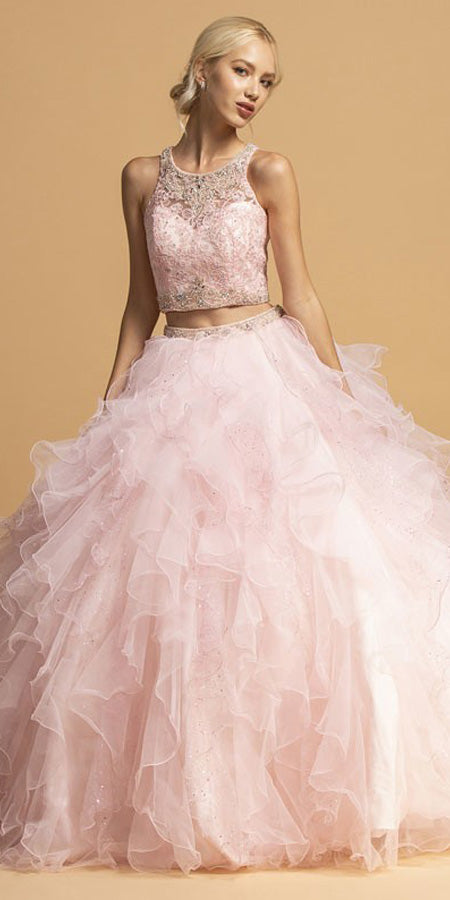 Pink Two-Piece Ruffled Quinceanera Dress Sleeveless