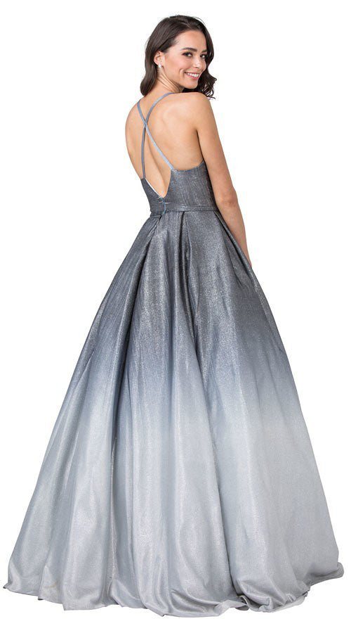 Charcoal/Silver Crisscross Back Prom Ball Gown