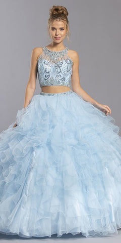Floor Length A-Line Strapless Ball Gown Blue Metallic Brocade Details