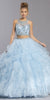 Two-Piece Ruffled Long Quinceanera Dress Light Blue