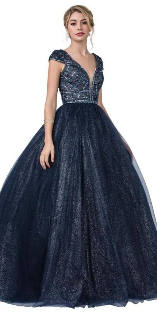 Aspeed L2293 Princess Ball Gown Navy Blue V-Neck Cap Sleeve