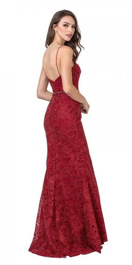 Aspeed USA L2294 Burgundy Mermaid Style Long Prom Dress with Spaghetti Straps