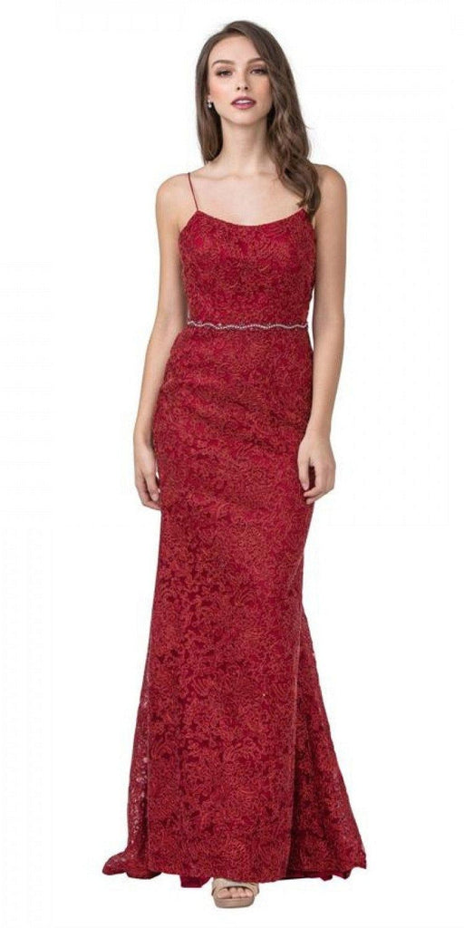Aspeed L2294 Mermaid Long Formal Burgundy Dress Spaghetti Straps