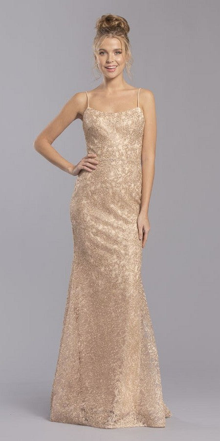 Gold Mermaid Style Long Prom Dress with Spaghetti Straps