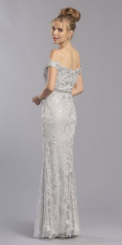 Off-the-Shoulder Appliqued Long Formal Dress Silver
