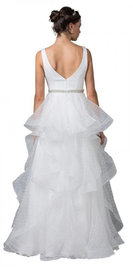 V-Neck and Back Tiered Long Prom Dress Off White