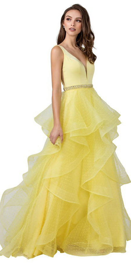 V-Neck and Back Tiered Long Prom Dress Yellow