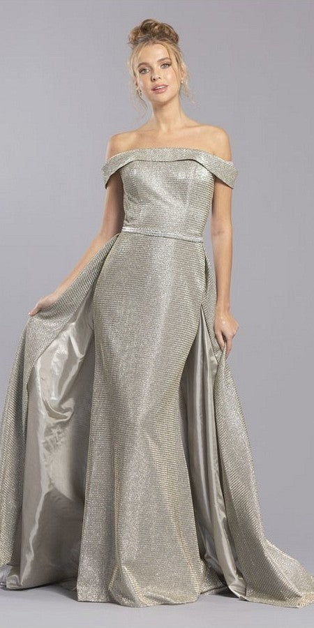 Champagne/Silver Off-Shoulder Long Prom Dress with Cape Skirt