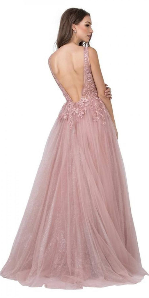 Aspeed Design L2133 Dusty Blush Embroidered Long Prom Dress Deep V-Back