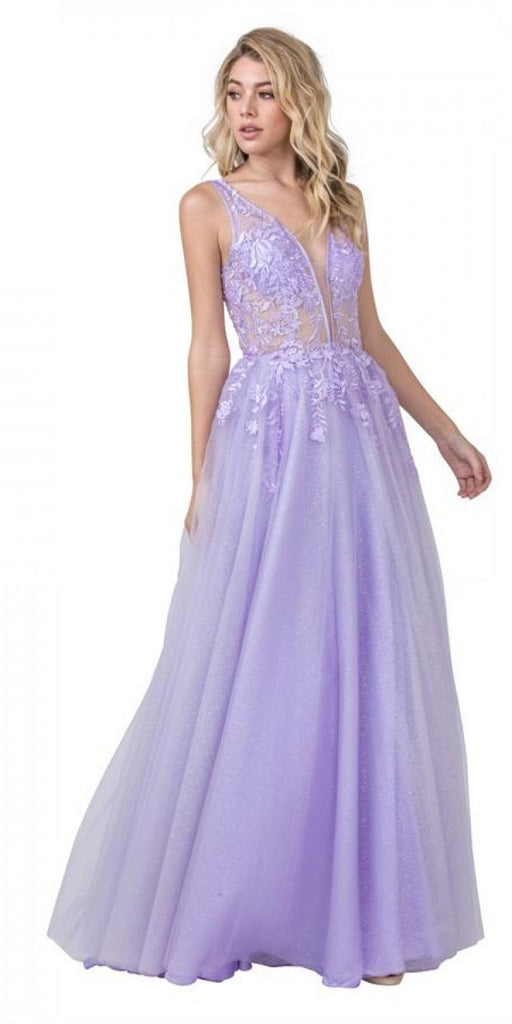 Aspeed L2311 Embroidered Long Lilac Prom Dress Deep V-Back