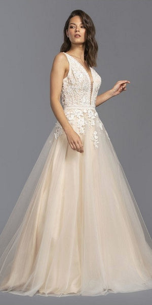 Appliqued Prom Ball Gown Cut-Out Back Off White/Nude