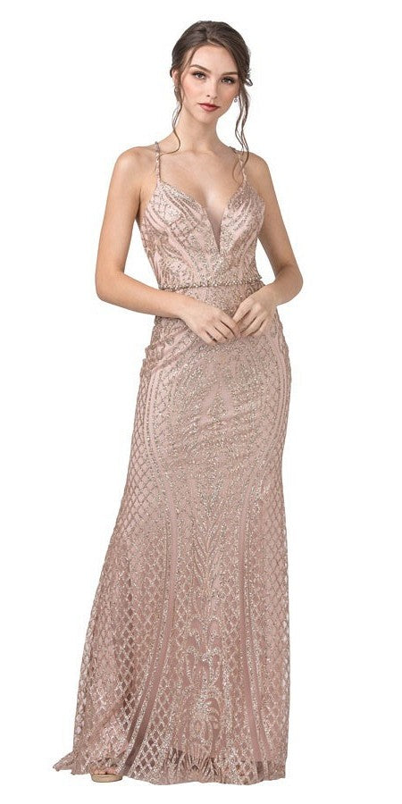 Long Prom Dress with Open Cut-Out Back Rose Gold