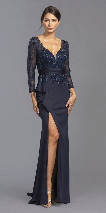 Long Sleeved Beaded Long Formal Dress with Slit Navy Blue