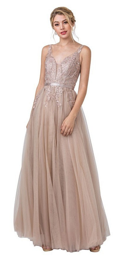 Mocha Long Prom Dress with Appliqued Bodice