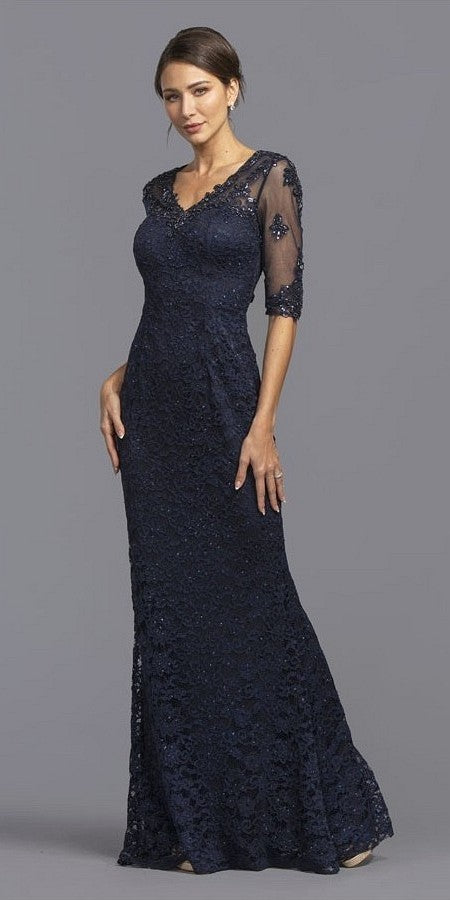 Quarter Sleeve Navy Blue Mermaid Long Formal Dress