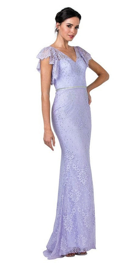 Pewter Lace Beaded Long Formal Dress Flutter Sleeves