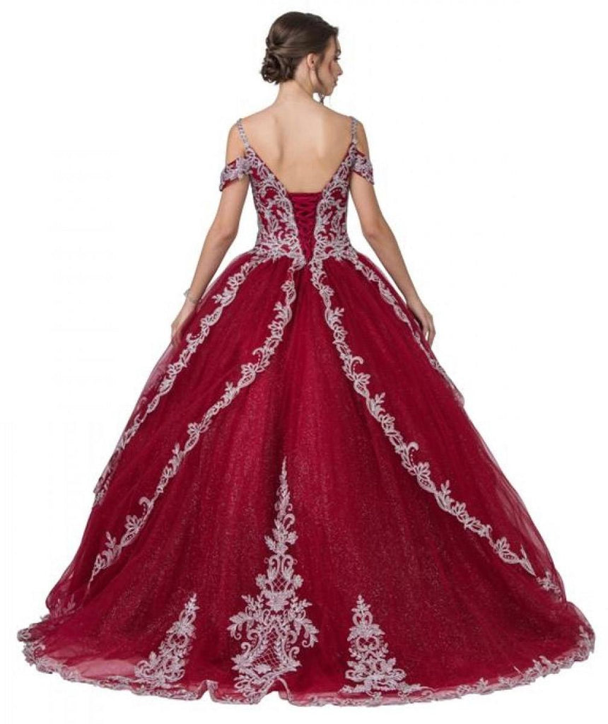 Aspeed Design L2348 Appliqued Cold-Shoulder Long Quinceanera Dress Burgundy