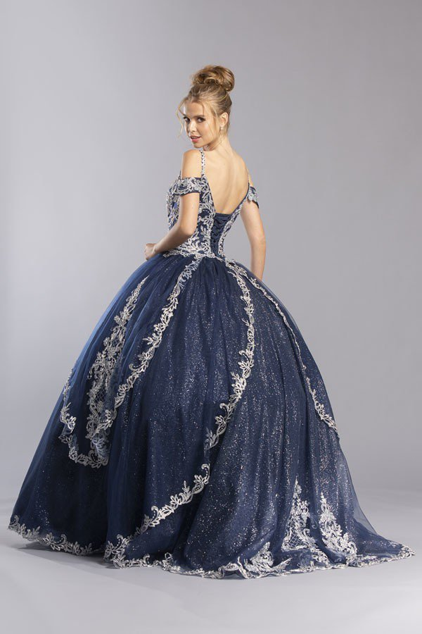 Appliqued Cold-Shoulder Long Quinceanera Dress Navy Blue