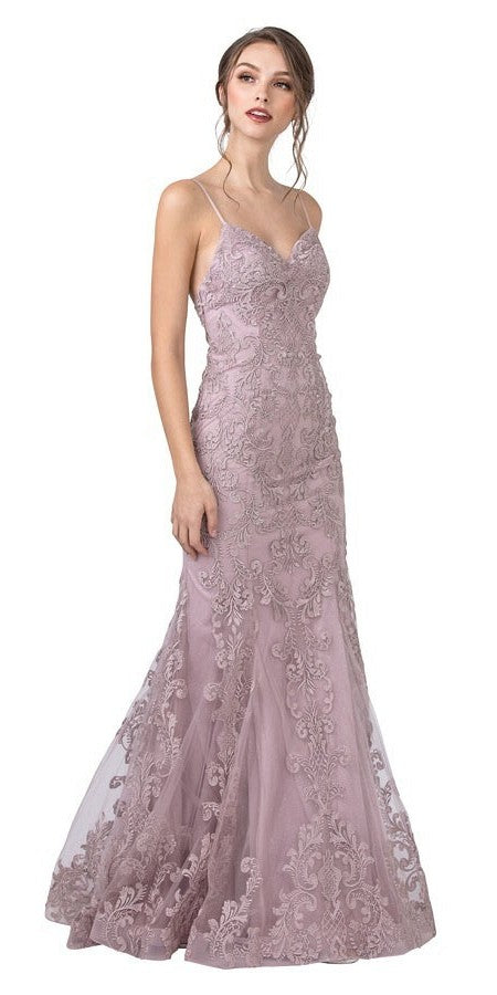 Mauve Embroidered Long Prom Dress with Spaghetti Straps