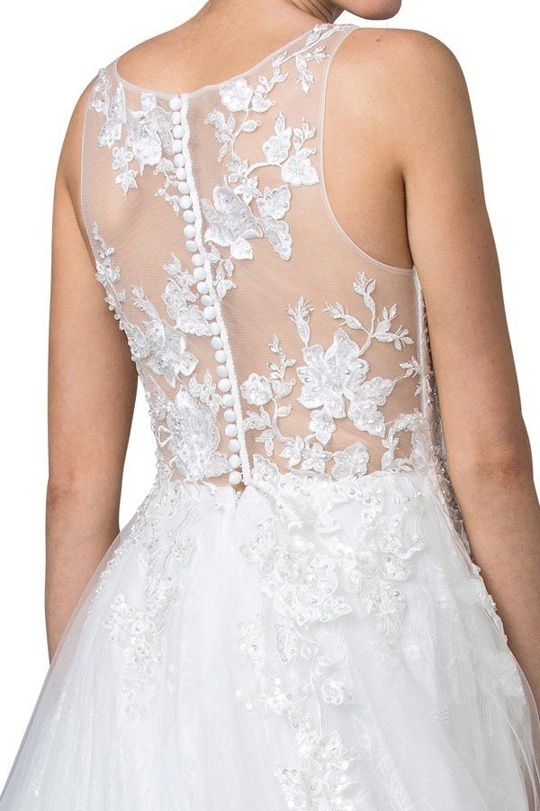 Sleeveless Off White Long Formal Dress with Appliques