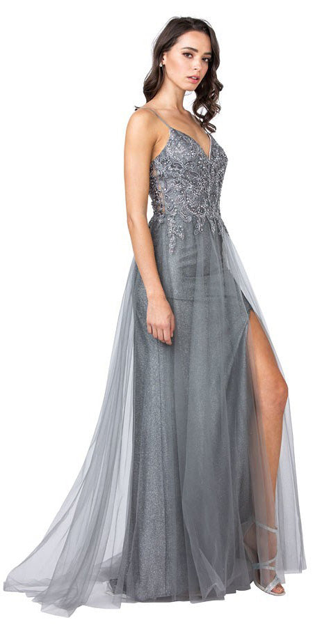 Charcoal Embellished Long Prom Dress with Slit