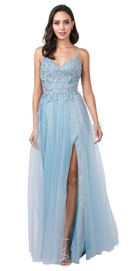 Ice Blue Embellished Long Prom Dress with Slit