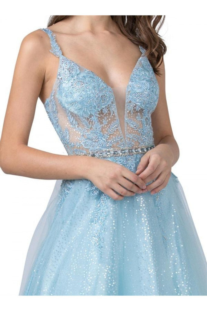 Cut-Out Back Ice Blue Prom Ball Gown with Appliques