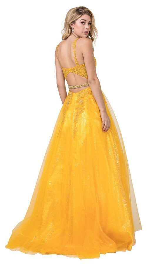 Cut-Out Back Yellow Prom Ball Gown with Appliques