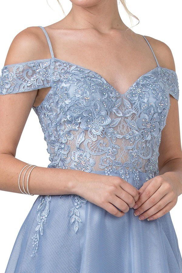 Slate Blue Cold-Shoulder Long Prom Dress with Slit
