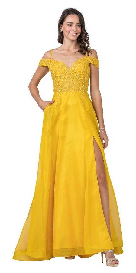 Yellow Cold-Shoulder Long Prom Dress with Slit