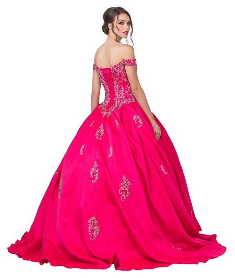 Embroidered Off-Shoulder Quinceanera Dress Hot Pink