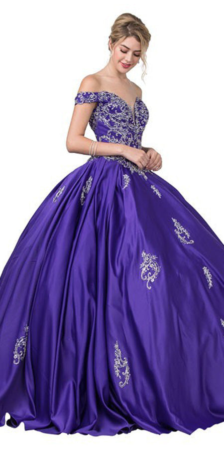 Embroidered Off-Shoulder Quinceanera Dress Violet