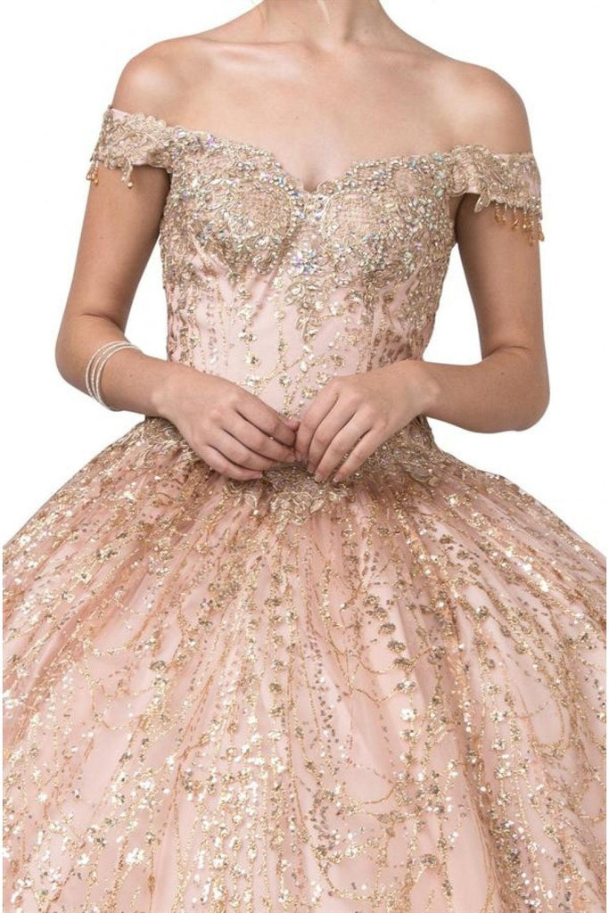 Rose Gold Off-Shoulder Quinceanera Ball Gown