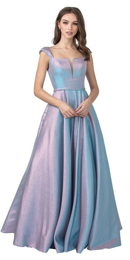 Blue/Pink Metallic Long Prom Dress Lace-Up Back