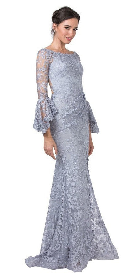 Lace Appliqued Cut-Out Back Long Formal Dress Pewter