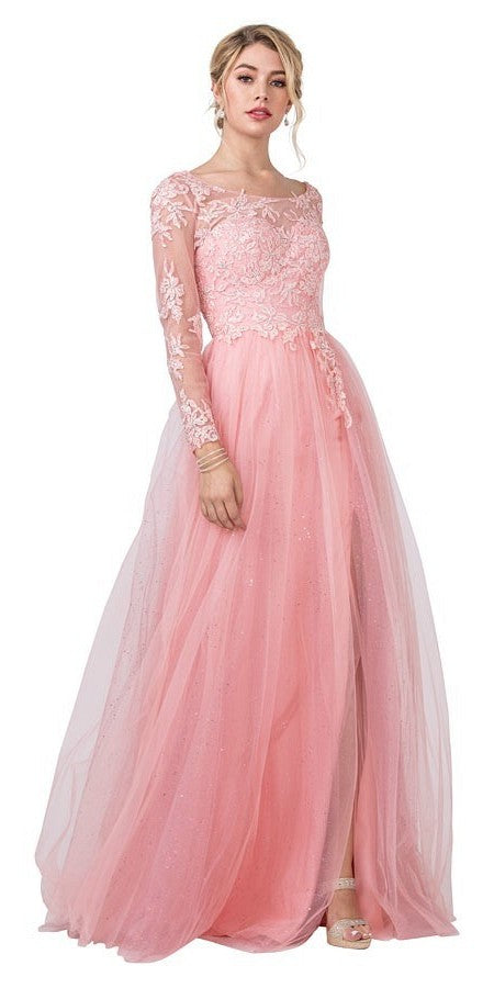 Appliqued Pink Long Prom Dress with Deep V-Back