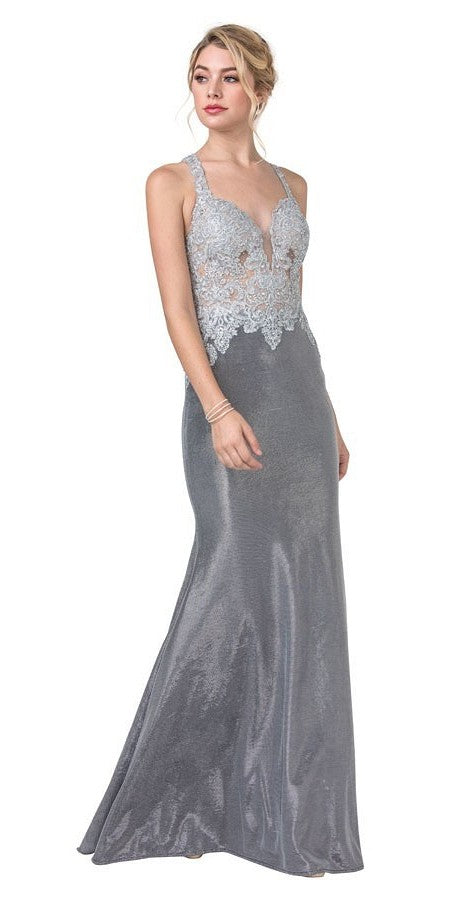 Chrome Appliqued Long Prom Dress with Racer Cut-Out Back